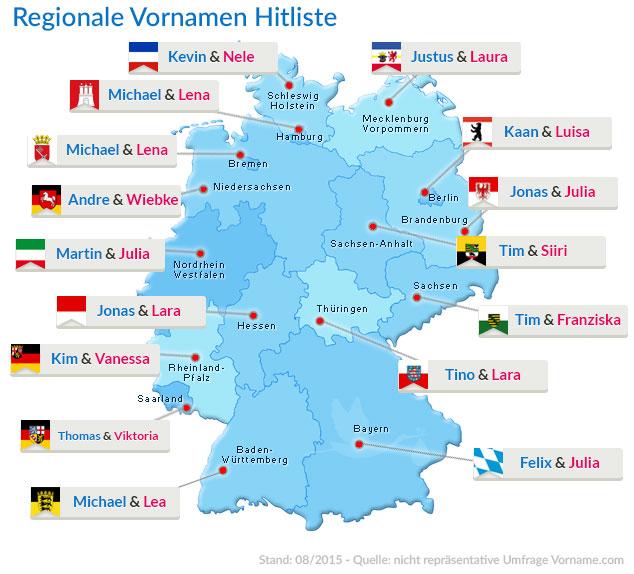 Regionale Vornamen Hitlisten